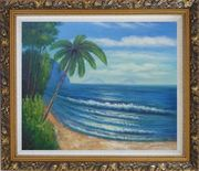 Palm Tree and Blue Ocean Oil Painting Seascape America Naturalism Ornate Antique Dark Gold Wood Frame 26 x 30 inches