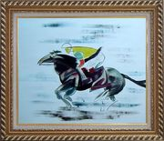 Racing Horse and Jockey Oil Painting Portraits Animal Modern Exquisite Gold Wood Frame 26 x 30 inches