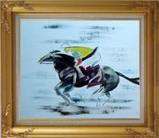 Racing Horse and Jockey Oil Painting Portraits Animal Modern Gold Wood Frame with Deco Corners 27 x 31 inches
