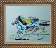 Riders Compete in Horse Racing Oil Painting Portraits Animal Modern Exquisite Gold Wood Frame 26 x 30 inches