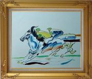 Riders Compete in Horse Racing Oil Painting Portraits Animal Modern Gold Wood Frame with Deco Corners 27 x 31 inches