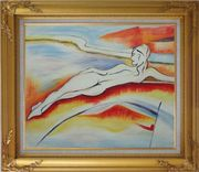Nude Reclining Lady on a Landscape Oil Painting Portraits Woman Modern Gold Wood Frame with Deco Corners 27 x 31 inches
