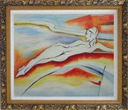 Nude Reclining Lady on a Landscape Oil Painting Portraits Woman Modern Ornate Antique Dark Gold Wood Frame 26 x 30 inches