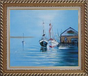 Two Small Boats on the Deck Oil Painting Impressionism Exquisite Gold Wood Frame 26 x 30 inches