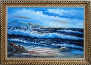 Beautiful Blue Waves in the Sea with Blue Sky Oil Painting Seascape Naturalism Exquisite Gold Wood Frame 30 x 42 inches