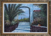 View of of Mediterranean Sea through Arch Oil Painting Garden Naturalism Ornate Antique Dark Gold Wood Frame 30 x 42 inches