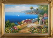 Mediterranean Dream Flower Garden Oil Painting Naturalism Gold Wood Frame with Deco Corners 31 x 43 inches
