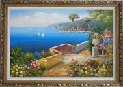 Mediterranean Dream Flower Garden Oil Painting Naturalism Ornate Antique Dark Gold Wood Frame 30 x 42 inches