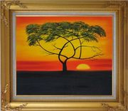 African Lonely Tree at Red Sunset Oil Painting Landscape Naturalism Gold Wood Frame with Deco Corners 27 x 31 inches