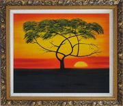 African Lonely Tree at Red Sunset Oil Painting Landscape Naturalism Ornate Antique Dark Gold Wood Frame 26 x 30 inches