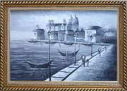 Walking in Venice, Black and White Oil Painting Italy Impressionism Exquisite Gold Wood Frame 30 x 42 inches
