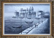 Walking in Venice, Black and White Oil Painting Italy Impressionism Ornate Antique Dark Gold Wood Frame 30 x 42 inches