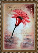 Modern Red Blooming Flower in Wind Oil Painting Exquisite Gold Wood Frame 42 x 30 inches
