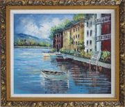 Village View of Mediterranean Sea Oil Painting Naturalism Ornate Antique Dark Gold Wood Frame 26 x 30 inches