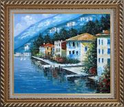 Scenc Coastal Town Oil Painting Mediterranean Naturalism Exquisite Gold Wood Frame 26 x 30 inches