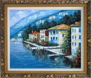 Scenc Coastal Town Oil Painting Mediterranean Naturalism Ornate Antique Dark Gold Wood Frame 26 x 30 inches