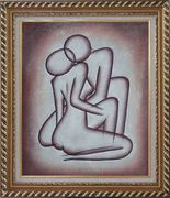 Kissing Nude Couple in Brown Oil Painting Portraits Modern Exquisite Gold Wood Frame 30 x 26 inches