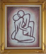 Kissing Nude Couple in Brown Oil Painting Portraits Modern Gold Wood Frame with Deco Corners 31 x 27 inches