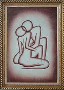 Kissing Nude Couple in Brown Oil Painting Portraits Modern Exquisite Gold Wood Frame 42 x 30 inches