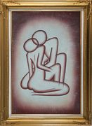 Kissing Nude Couple in Brown Oil Painting Portraits Modern Gold Wood Frame with Deco Corners 43 x 31 inches