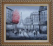 Paris Street to Eiffel Tower Black and White Oil Painting Cityscape Impressionism Exquisite Gold Wood Frame 26 x 30 inches