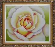 Pink Rose Bud Oil Painting Flower Naturalism Ornate Antique Dark Gold Wood Frame 26 x 30 inches