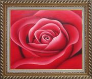 The Beauty of Red Rose Bud Oil Painting Flower Decorative Exquisite Gold Wood Frame 26 x 30 inches