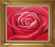The Beauty of Red Rose Bud Oil Painting Flower Decorative Gold Wood Frame with Deco Corners 27 x 31 inches