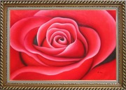 The Beauty of Red Rose Bud Oil Painting Flower Decorative Exquisite Gold Wood Frame 30 x 42 inches
