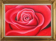 The Beauty of Red Rose Bud Oil Painting Flower Decorative Gold Wood Frame with Deco Corners 31 x 43 inches