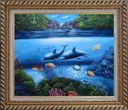 Magical Sea World Oil Painting Animal Marine Life Dolphin Fish Naturalism Exquisite Gold Wood Frame 26 x 30 inches