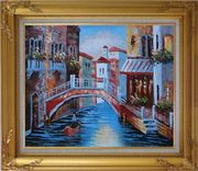 Gondolas in Canal of Venice, Italy Oil Painting Naturalism Gold Wood Frame with Deco Corners 27 x 31 inches