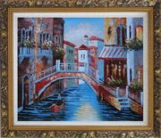 Gondolas in Canal of Venice, Italy Oil Painting Naturalism Ornate Antique Dark Gold Wood Frame 26 x 30 inches