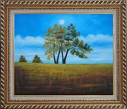Trees Under Beautiful Blue Sky Oil Painting Landscape Naturalism Exquisite Gold Wood Frame 26 x 30 inches