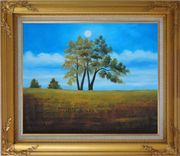 Trees Under Beautiful Blue Sky Oil Painting Landscape Naturalism Gold Wood Frame with Deco Corners 27 x 31 inches