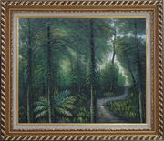 Small Quiet Trail in a Green Forest Oil Painting Landscape Tree Naturalism Exquisite Gold Wood Frame 26 x 30 inches