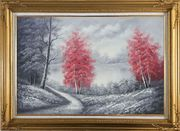 Two Red Leave Trees in Black and White Landscape Oil Painting Naturalism Gold Wood Frame with Deco Corners 31 x 43 inches