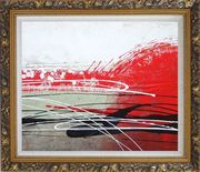 Red, White and Black Modern Art Oil Painting Nonobjective Decorative Ornate Antique Dark Gold Wood Frame 26 x 30 inches