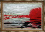 Red, White and Black Modern Art Oil Painting Nonobjective Decorative Exquisite Gold Wood Frame 30 x 42 inches
