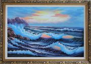 Sea Waves Crashing Over Rocks on Coast of Sea Oil Painting Seascape America Naturalism Ornate Antique Dark Gold Wood Frame 30 x 42 inches
