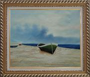 Rowing Boats Resting on Shore Oil Painting Decorative Exquisite Gold Wood Frame 26 x 30 inches