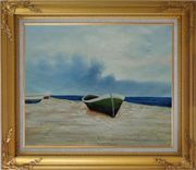 Rowing Boats Resting on Shore Oil Painting Decorative Gold Wood Frame with Deco Corners 27 x 31 inches