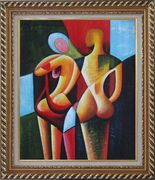 Nude Couple in Love Oil Painting Portraits Modern Cubism Exquisite Gold Wood Frame 30 x 26 inches