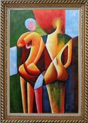 Nude Couple in Love Oil Painting Portraits Modern Cubism Exquisite Gold Wood Frame 42 x 30 inches