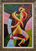 Hugging Lovers Oil Painting Portraits Couple Modern Cubism Ornate Antique Dark Gold Wood Frame 42 x 30 inches
