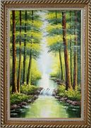 Small Waterfall in Early Autumn Oil Painting Landscape Tree Naturalism Exquisite Gold Wood Frame 42 x 30 inches