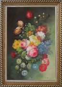 Still Life with Flowers Oil Painting Bouquet Classic Exquisite Gold Wood Frame 42 x 30 inches