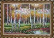 Golden Aspen Trees and Small Pond Oil Painting Landscape Autumn Naturalism Exquisite Gold Wood Frame 30 x 42 inches