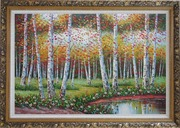 Golden Aspen Trees and Small Pond Oil Painting  Ornate Antique Dark Gold Wood Frame 30
