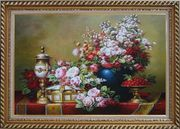 Red, Pink Roses and Other Colorful Flowers, Cherry and Exquisite Light Pot Oil Painting Still Life Bouquet Classic Exquisite Gold Wood Frame 30 x 42 inches